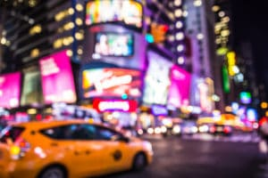 Defocused Blur Of Times Square Representing New York City Drug And Alcohol Interventions