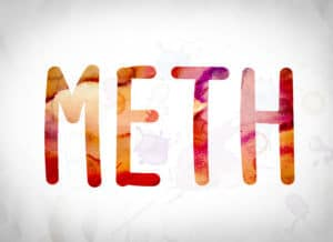 The Word Meth Written Out In Red On A White Background Representing Shooting Meth