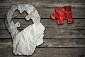 Puzzle Head Brain Concept Representing Mental Illness And Addiction