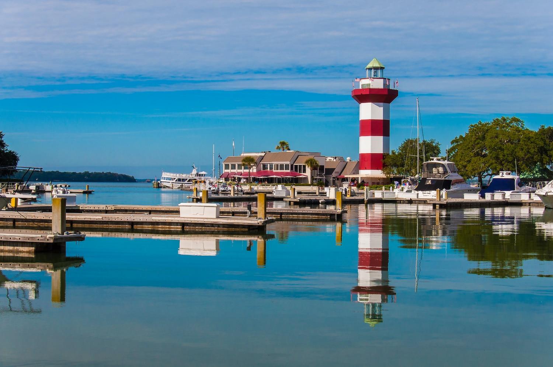 A lighthouse and a pier in Hilton Head Island, South Carolina